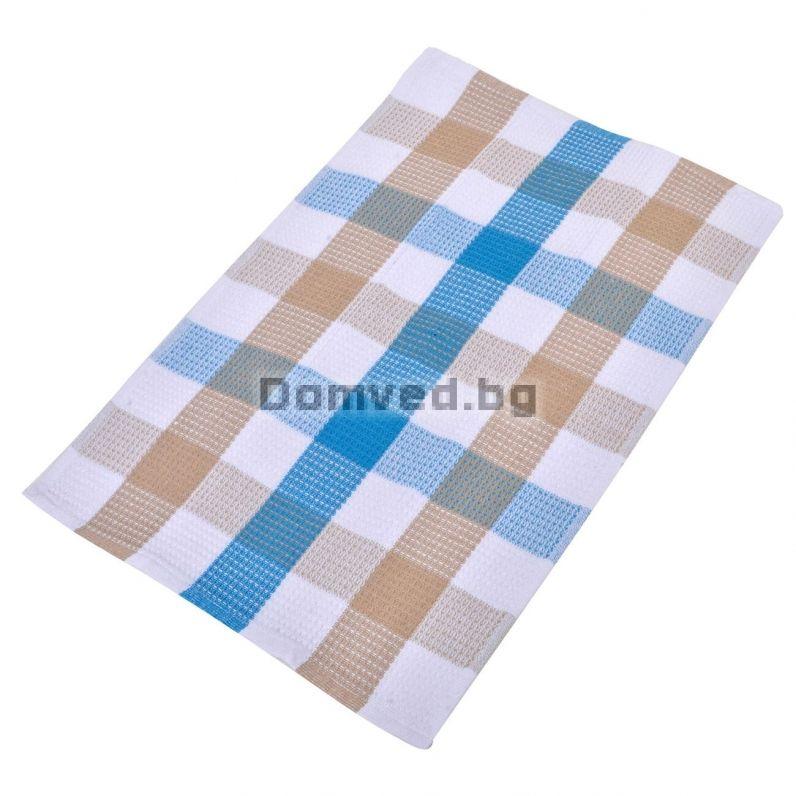497e3524614 Кухненска кърпа - синьо-бежово каре - 40 х 60 см.